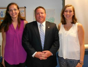 Albany County Executive Dan McCoy with Mt. Marcy Climbers Erin Bischoff and Rachel Nader